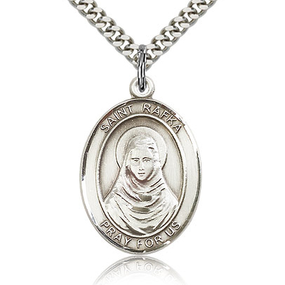 Sterling Silver 1in St Rafka Medal & 24in Chain