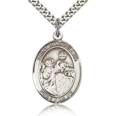 Sterling Silver 1in St Nimatullah Medal & 24in Chain