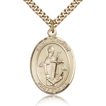 Gold Filled 1in St Clement Medal & 24in Chain