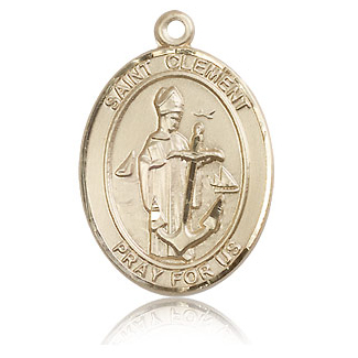 14kt Yellow Gold 1in St Clement Medal