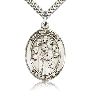 Sterling Silver 1in St Felicity Medal & 24in Chain