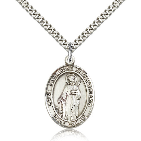 Sterling Silver 1in St Catherine of Alexandria Medal & 24in Chain