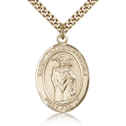 Gold Filled 1in St Thomas A Becket Medal & 24in Chain