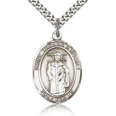 Sterling Silver 1in St Thomas A Becket Medal & 24in Chain
