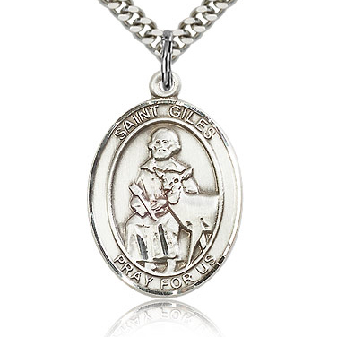 Sterling Silver 1in St Giles Medal & 24in Chain