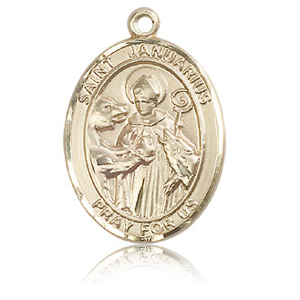 14kt Yellow Gold 1in St Januarius Medal