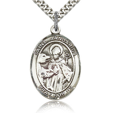 Sterling Silver 1in St Januarius Medal & 24in Chain
