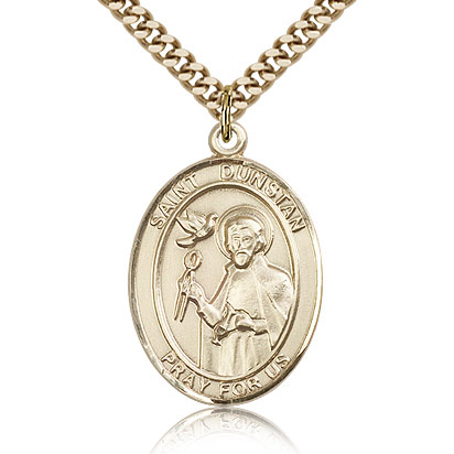 Gold Filled 1in St Dunstan Medal & 24in Chain