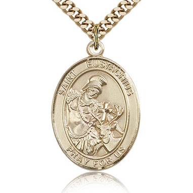 Gold Filled 1in St Eustachius Medal & 24in Chain