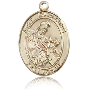 14kt Yellow Gold 1in St Eustachius Medal