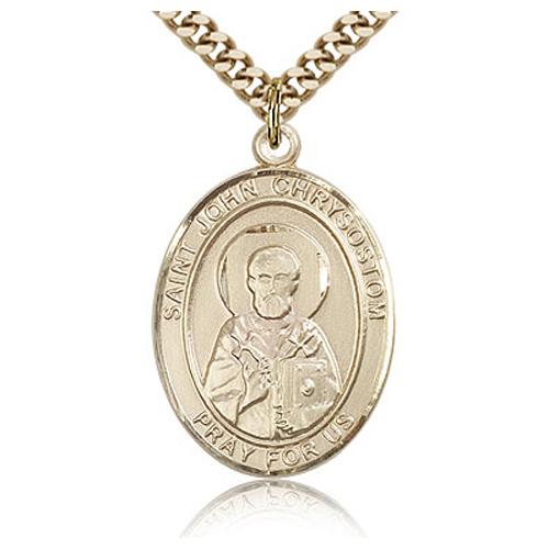 Gold Filled 1in St John Chrysostom Medal & 24in Chain