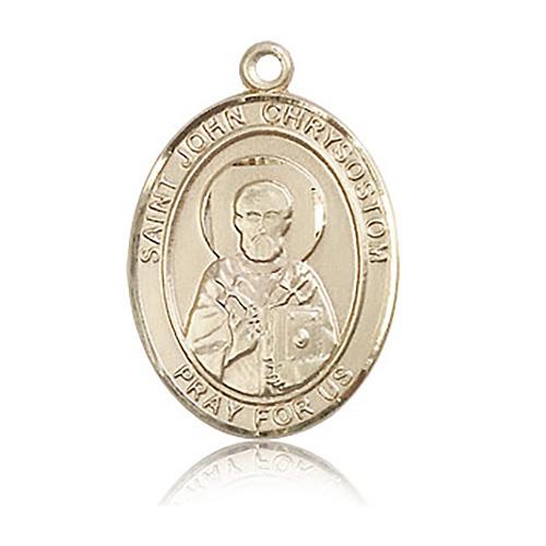 14kt Yellow Gold 1in St John Chrysostom Medal