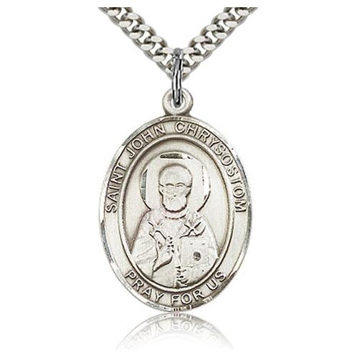 Sterling Silver 1in St John Chrysostom Medal & 24in Chain