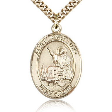Gold Filled 1in St John Licci Medal & 24in Chain