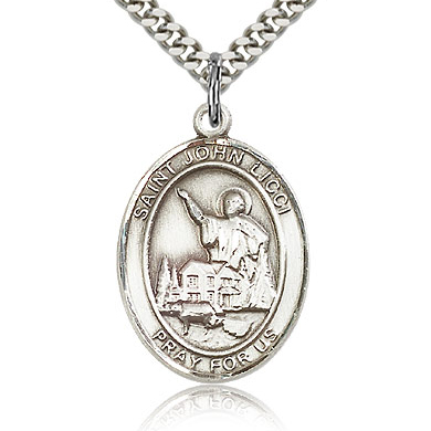 Sterling Silver 1in St John Licci Medal & 24in Chain