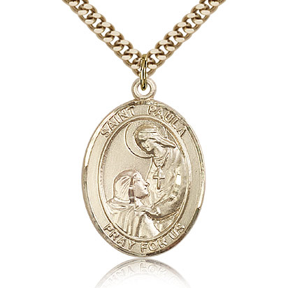Gold Filled 1in St Paula Medal & 24in Chain