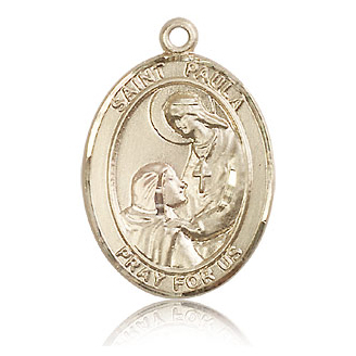 14kt Yellow Gold 1in St Paula Medal
