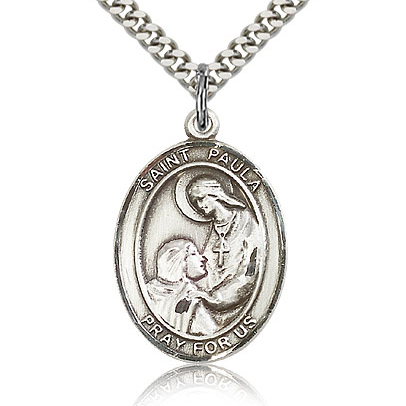 Sterling Silver 1in St Paula Medal & 24in Chain