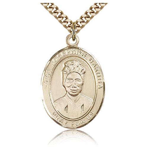 Gold Filled 1in St Josephine Bakhita Medal & 24in Chain