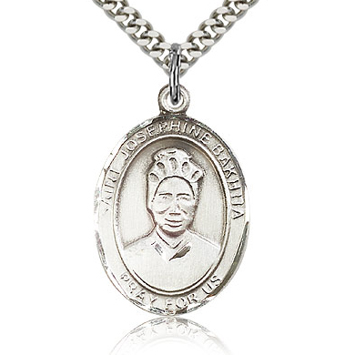 Sterling Silver 1in St Josephine Bakhita Medal & 24in Chain