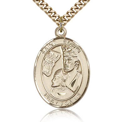 Gold Filled 1in St Edwin Medal & 24in Chain
