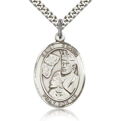 Sterling Silver 1in St Edwin Medal & 24in Chain