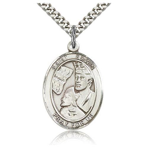 Sterling Silver 1in St Edwin Medal & 24in Chain