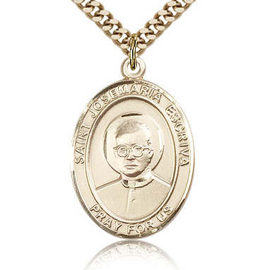 Gold Filled 1in St Josemaria Escriva Medal & 24in Chain
