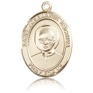 14kt Yellow Gold 1in St Josemaria Escriva Medal