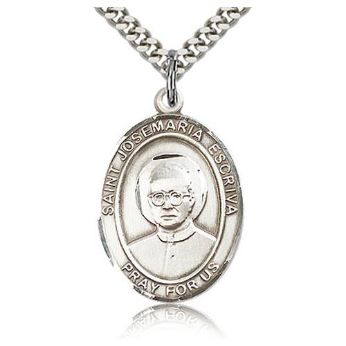 Sterling Silver 1in St Josemaria Escriva Medal & 24in Chain
