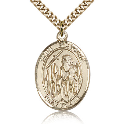 Gold Filled 1in St Polycarp Medal & 24in Chain
