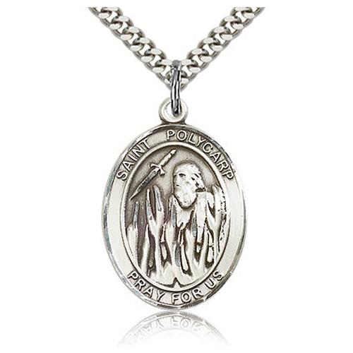 Sterling Silver 1in St Polycarp Medal & 24in Chain
