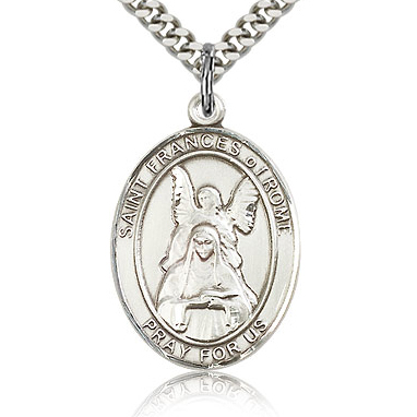Sterling Silver 1in St Frances of Rome Medal & 24in Chain