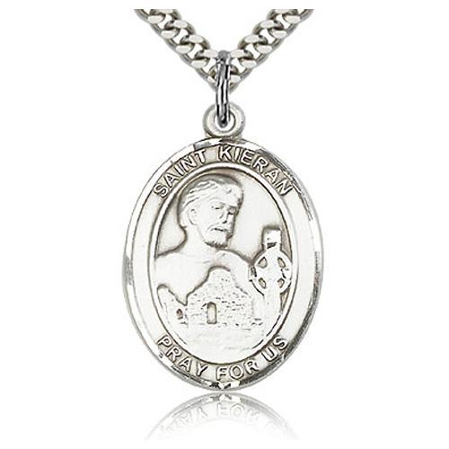 Sterling Silver 1in St Kieran Medal & 24in Chain