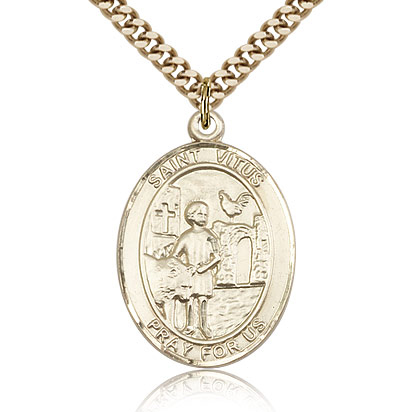 Gold Filled 1in St Vitus Medal & 24in Chain
