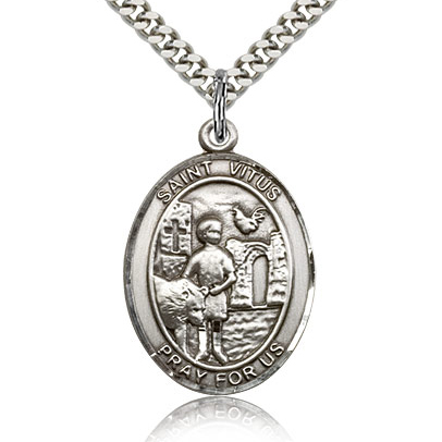 Sterling Silver 1in St Vitus Medal & 24in Chain