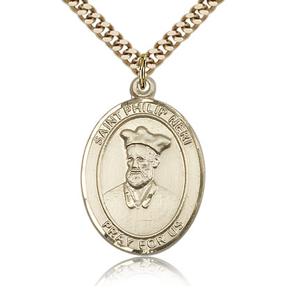 Gold Filled 1in St Philip Neri Medal & 24in Chain