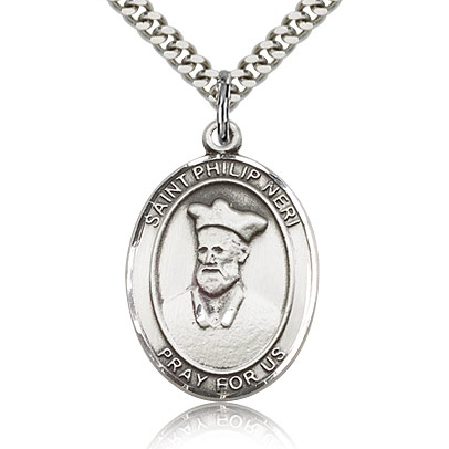 Sterling Silver 1in St Philip Neri Medal & 24in Chain