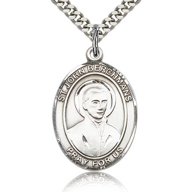 Sterling Silver 1in St John Berchmans Medal & 24in Chain