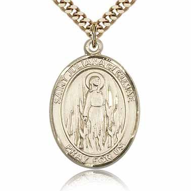 Gold Filled 1in St Juliana Medal & 24in Chain
