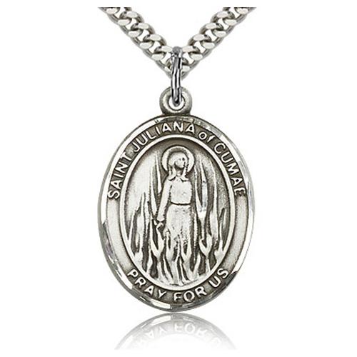 Sterling Silver 1in St Juliana Medal & 24in Chain