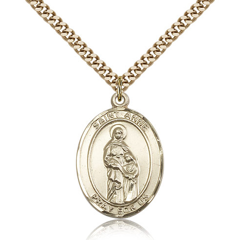 Gold Filled 1in St Anne Medal & 24in Chain