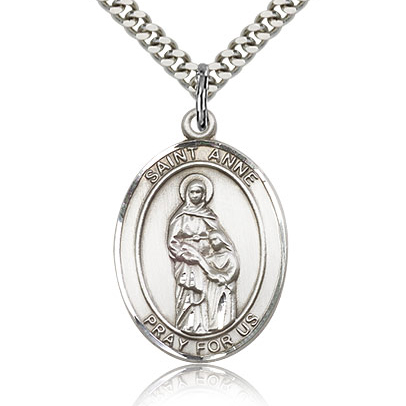 Sterling Silver 1in St Anne Medal & 24in Chain