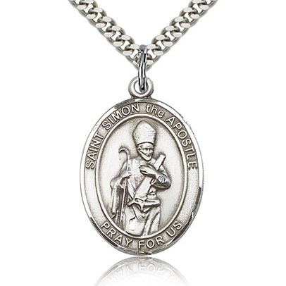 Sterling Silver 1in St Simon Medal & 24in Chain
