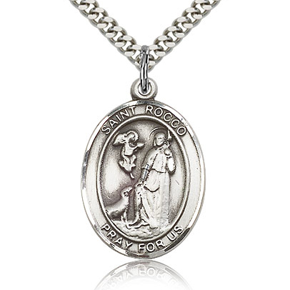 Sterling Silver 1in St Rocco Medal & 24in Chain