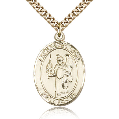 Gold Filled 1in St Uriel Medal & 24in Chain
