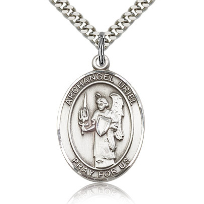Sterling Silver 1in St Uriel Medal & 24in Chain