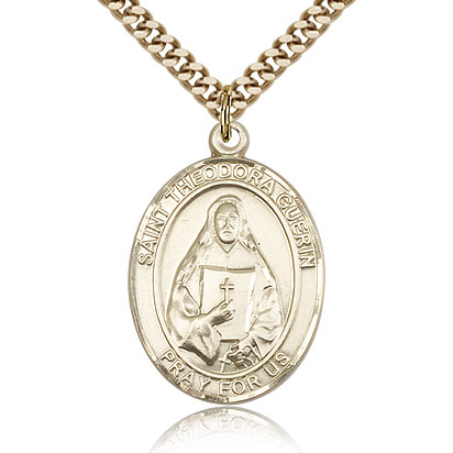 Gold Filled 1in St Theodora Guerin Medal & 24in Chain