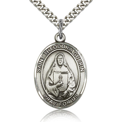 Sterling Silver 1in St Theodora Guerin Medal & 24in Chain