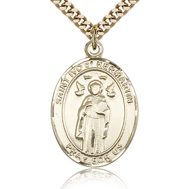 Gold Filled 1in St Ivo Medal & 24in Chain